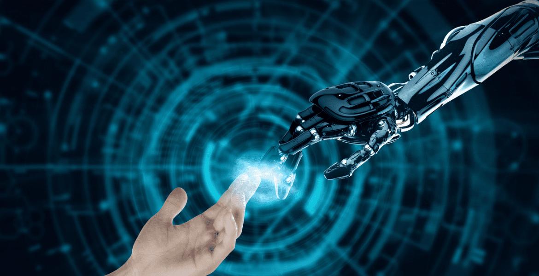 Human meets robot image